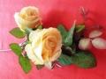 Růže dva květy s poupětem béžová MH91892