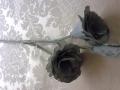 Růže dva květy s poupětem látková šedá Mh91808
